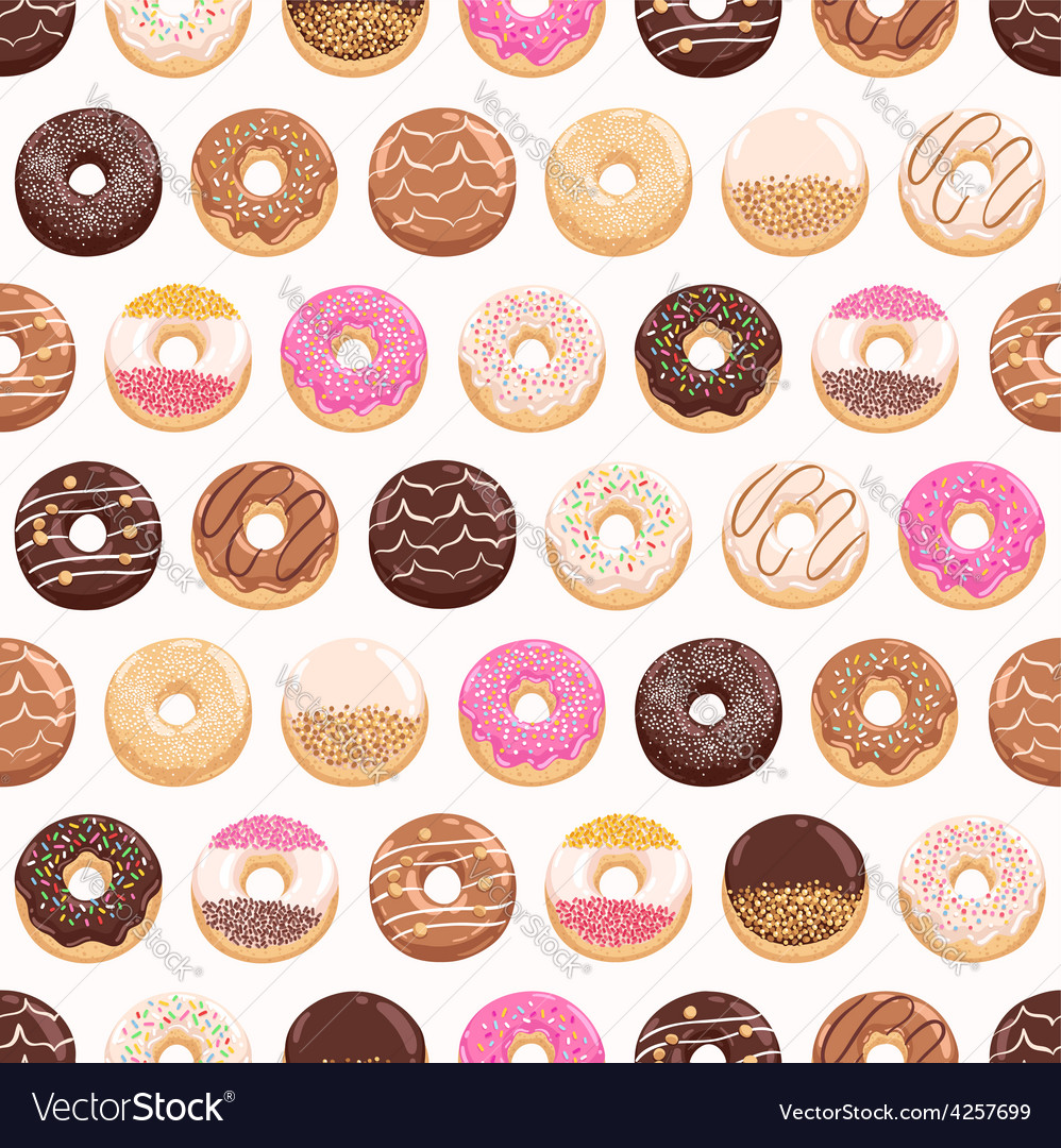 Yummy donuts seamless pattern vector
