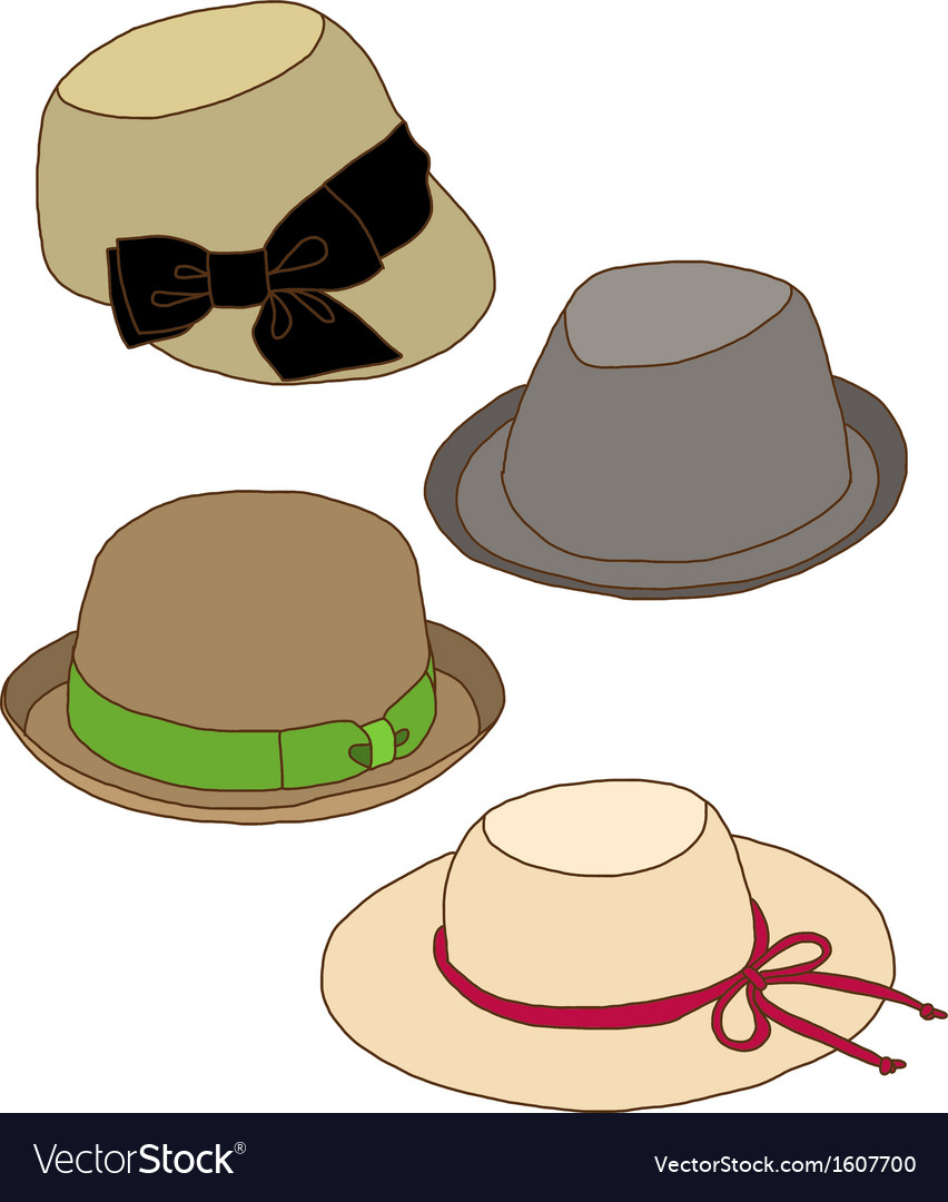 Collage of fashion lady hat vector