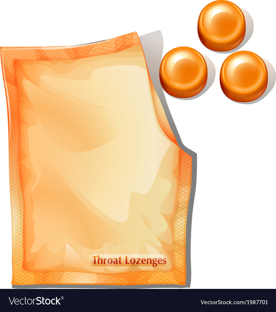 A pack of orange throat lozenges vector