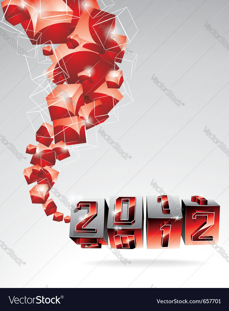 Calendar design 2012 with swirl cubes vector