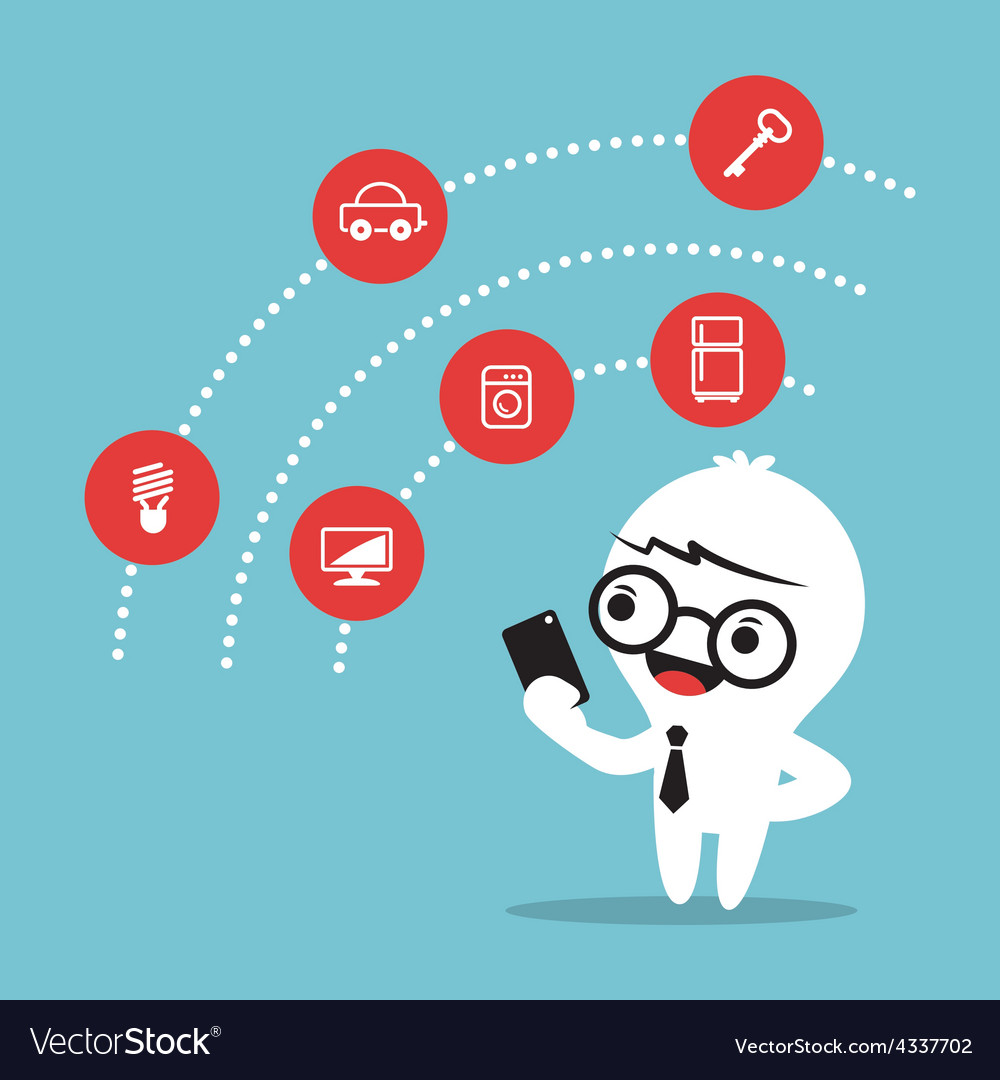 Internet of things concept cartoon vector