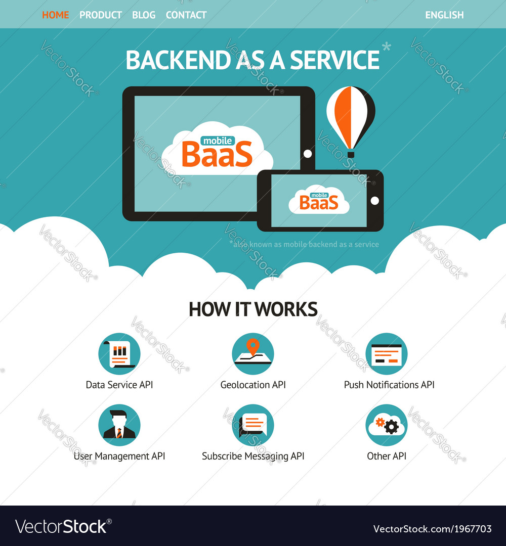 Flat website template with mobile gadgets vector