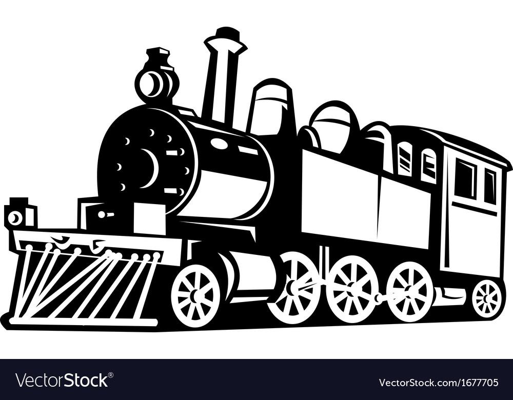 Vintage steam train locomotive vector