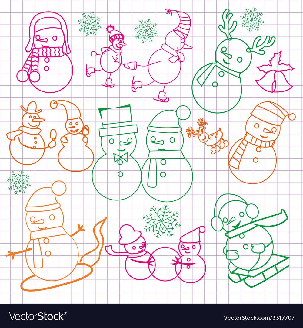 Christmas doodles with snowmen- vector