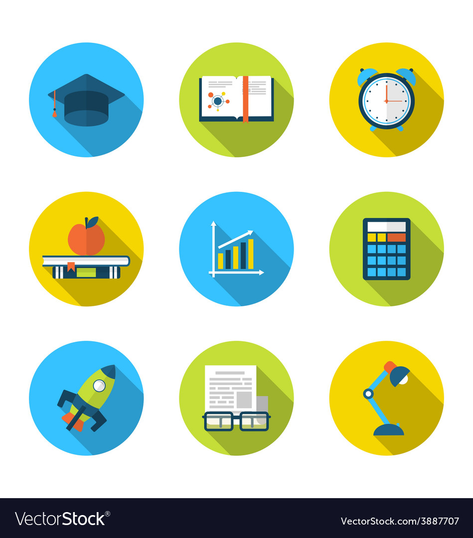 Flat icons of elements and objects for high school vector