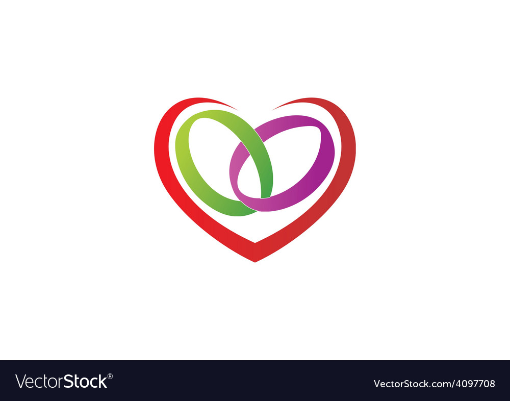 Love heart ring wedding logo vector