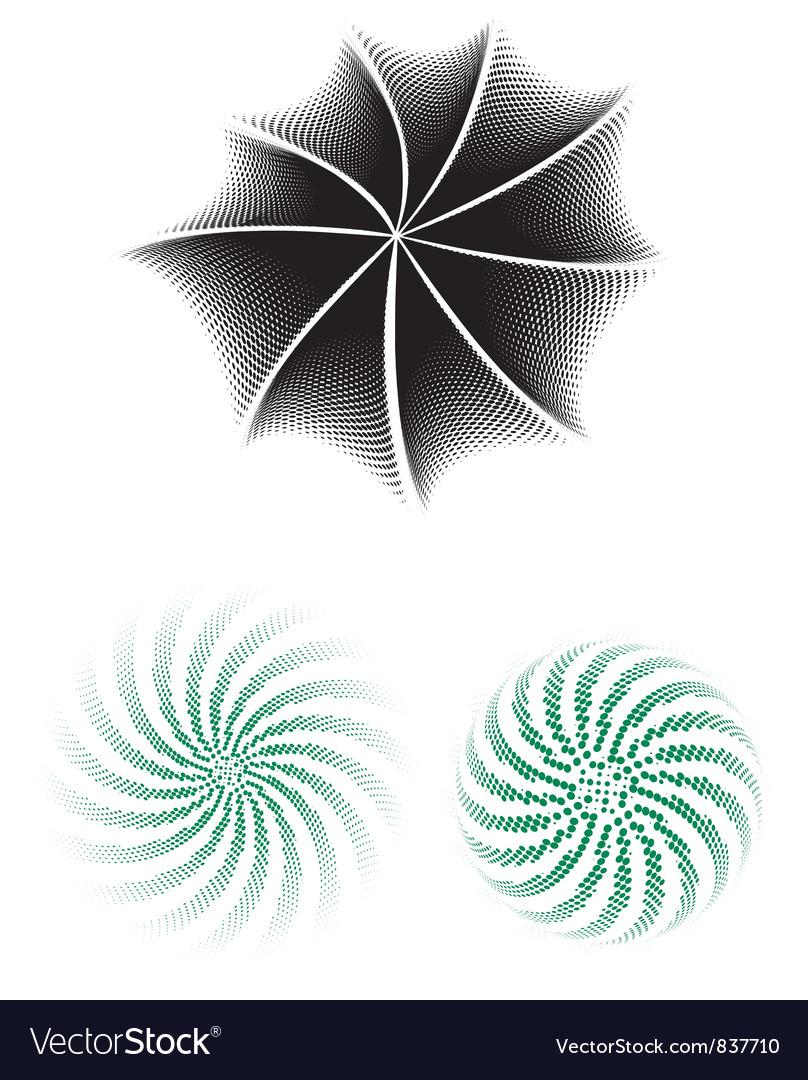 Halftone radials vector