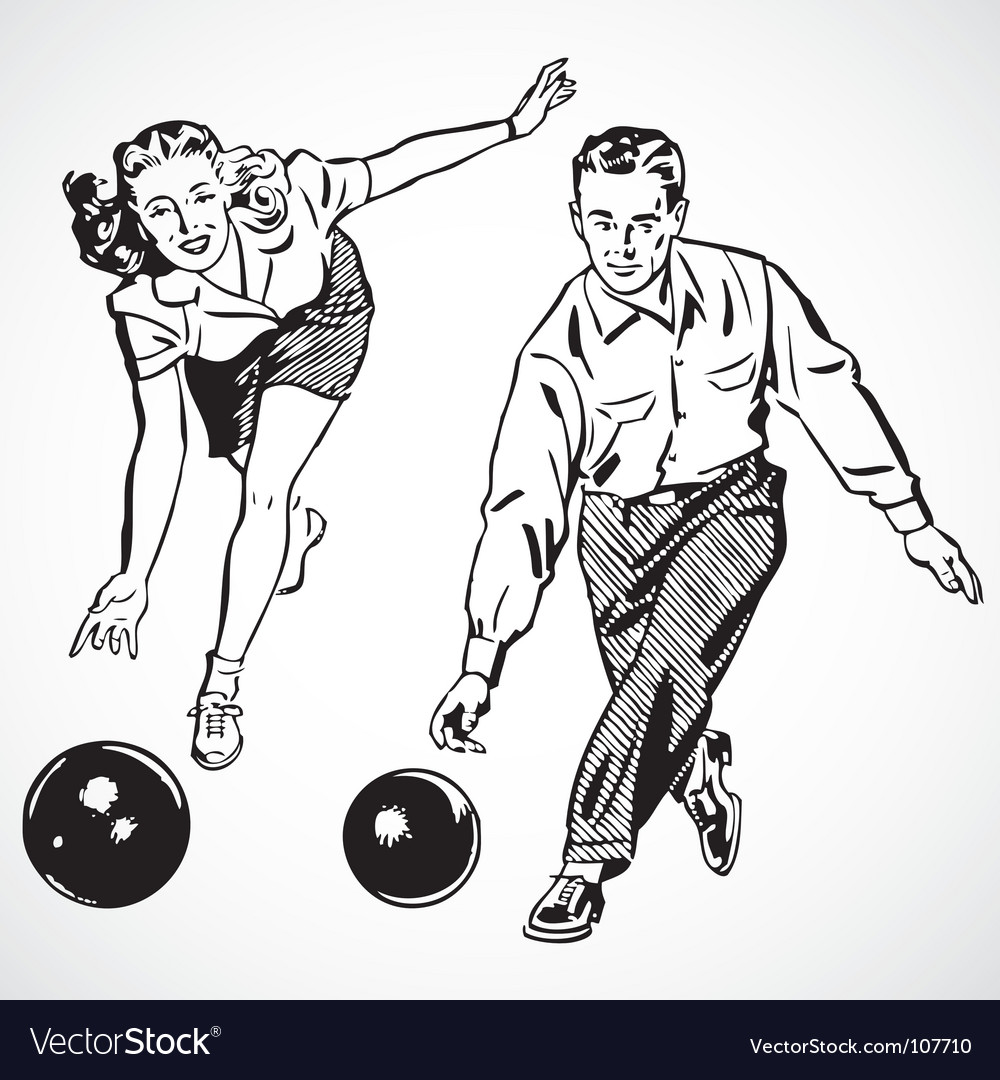 Retro bowling vector