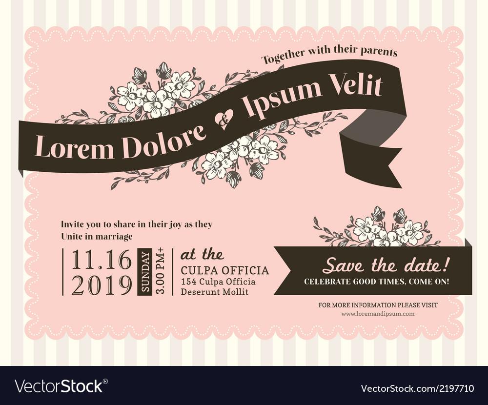 Vintage wedding invitation border and frame vector