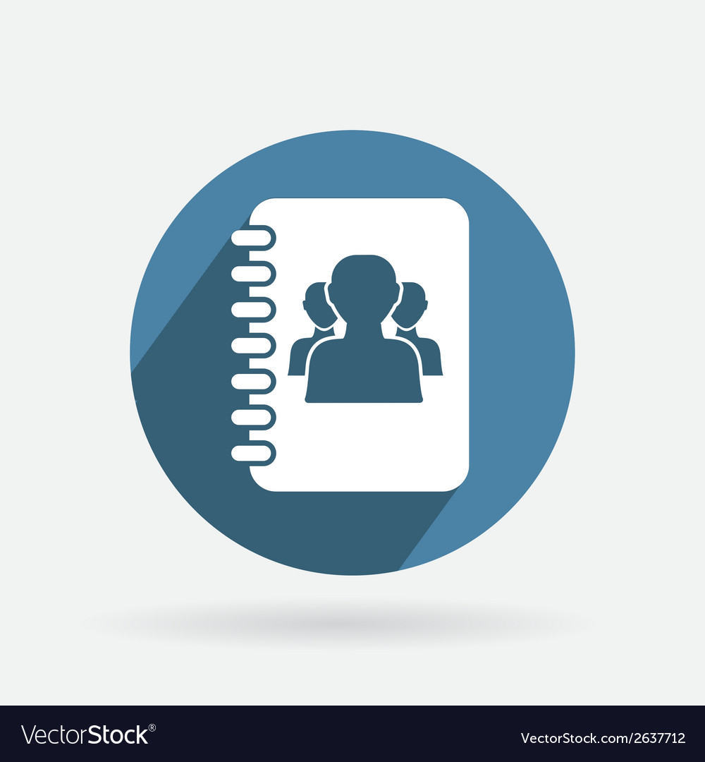 Circle blue icon with shadow phone address book vector