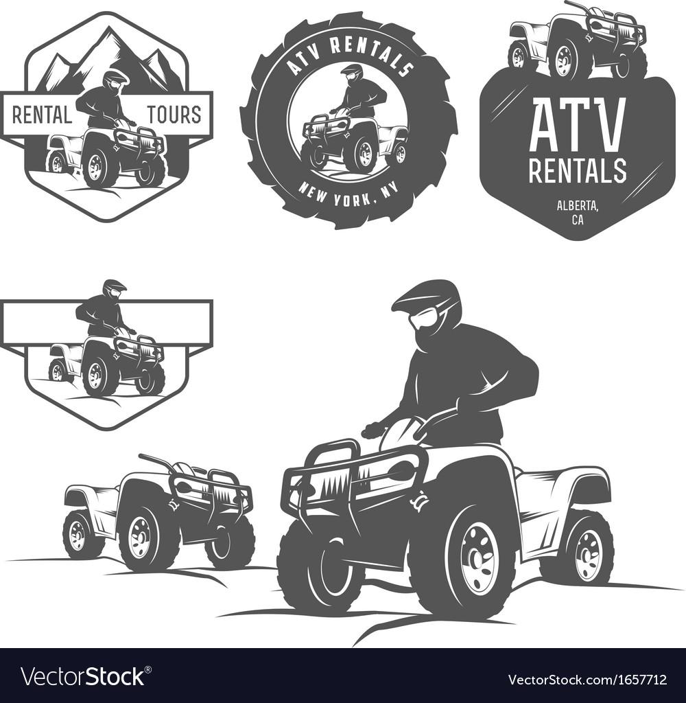 Set of atv labels badges and design elements vector