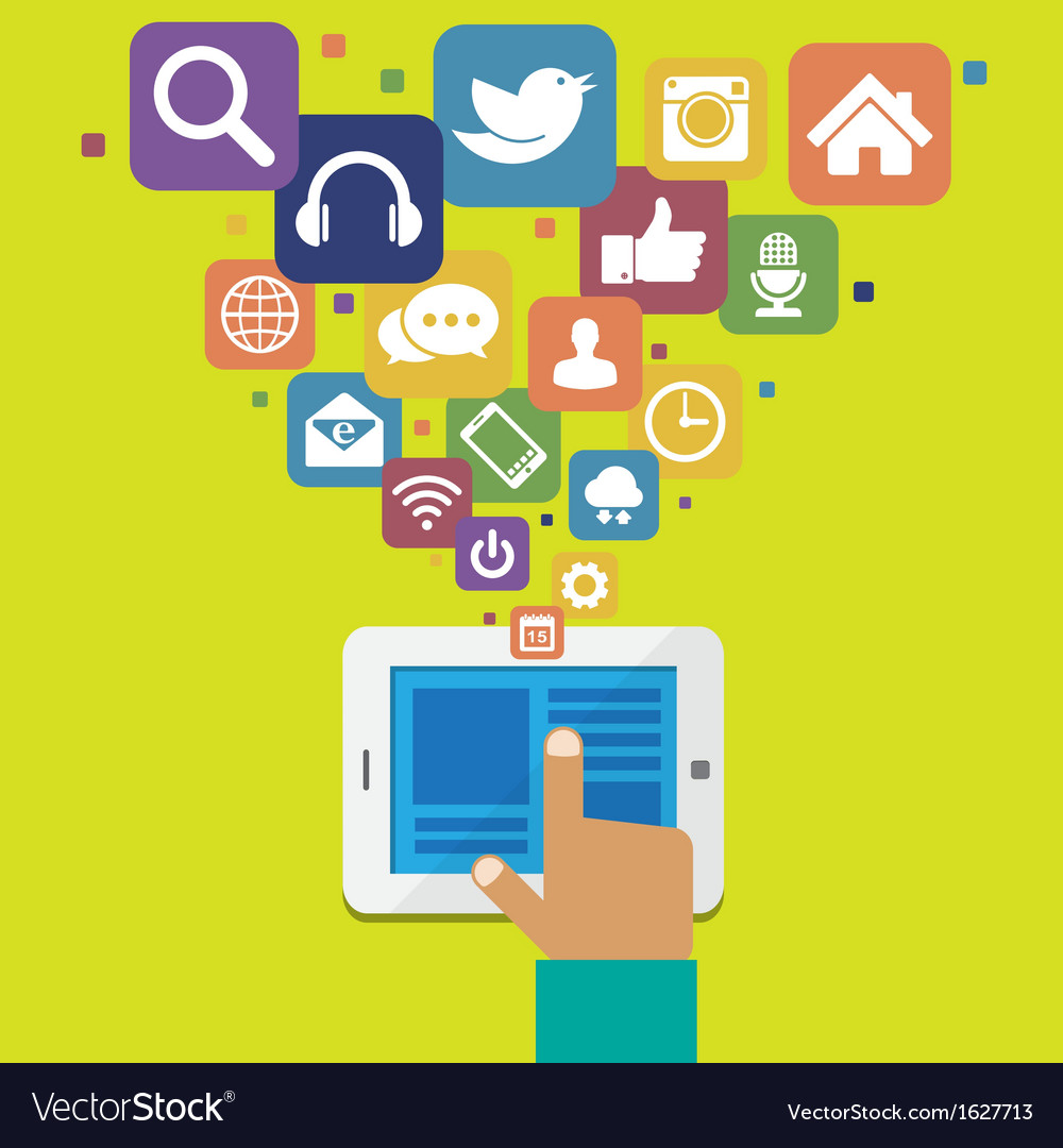 Tablet with social media icons vector