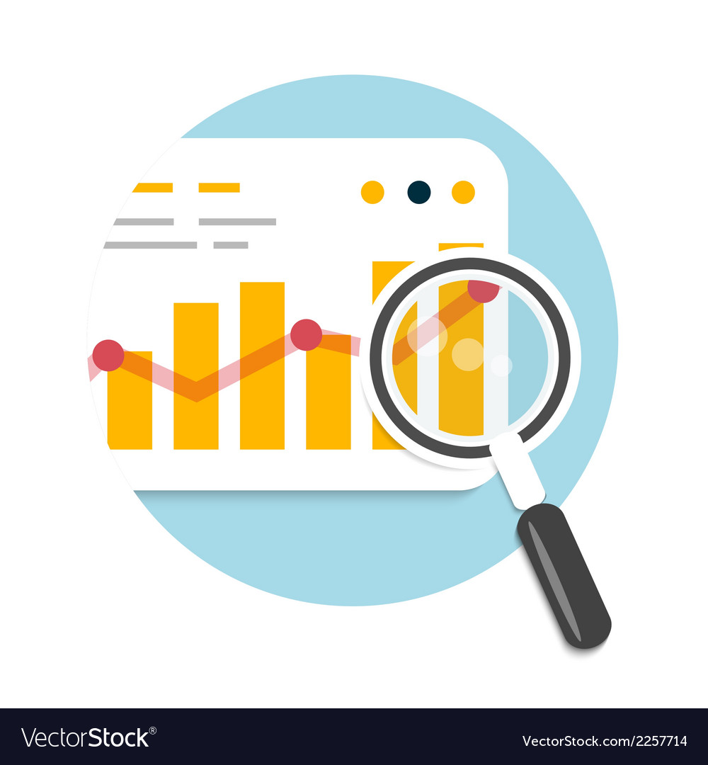 Magnifying glass and chart vector