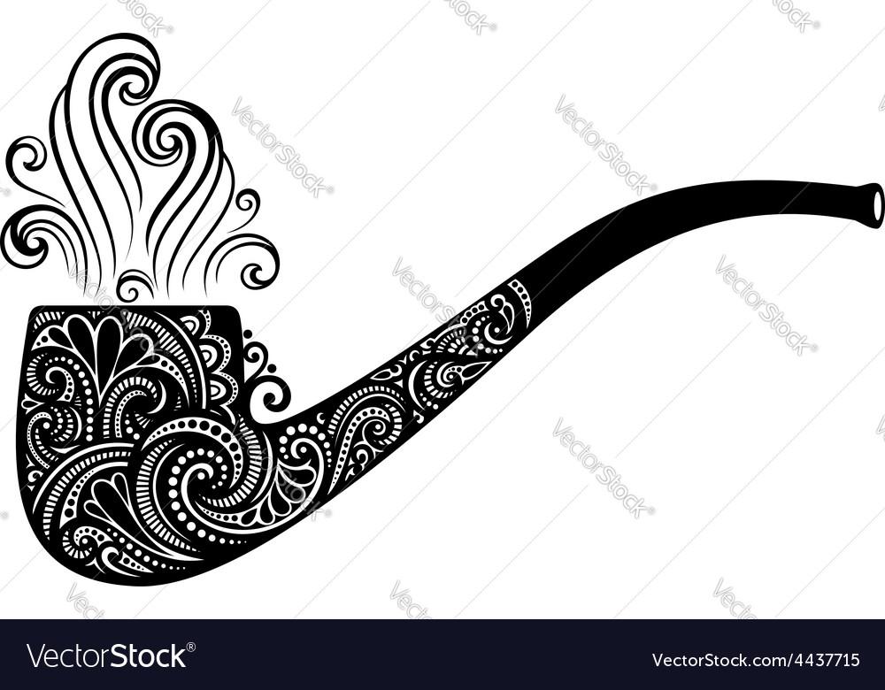 Tobacco pipe icon vector