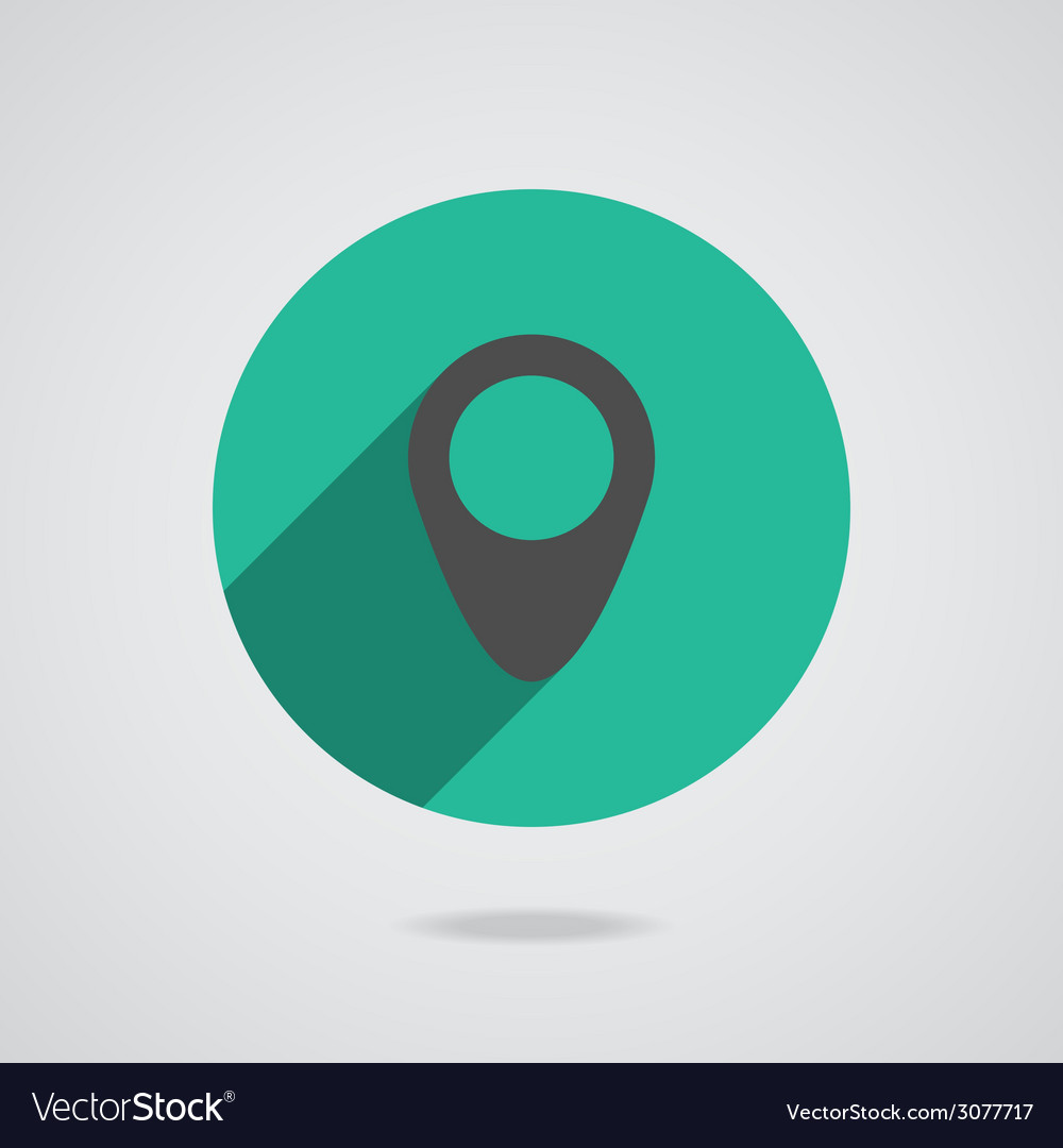 Map pointer flat single icon long shadow vector