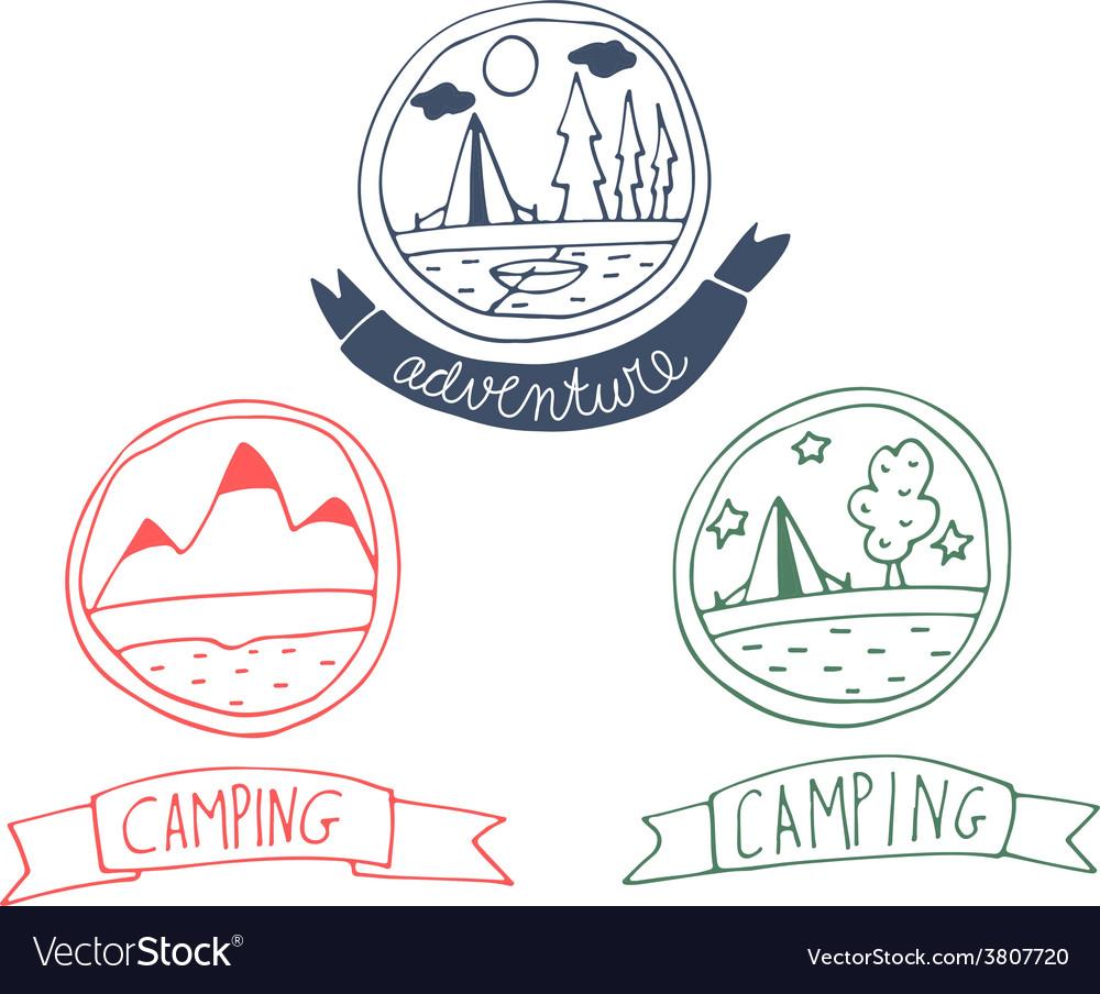 Set of doodle adventure badges vector