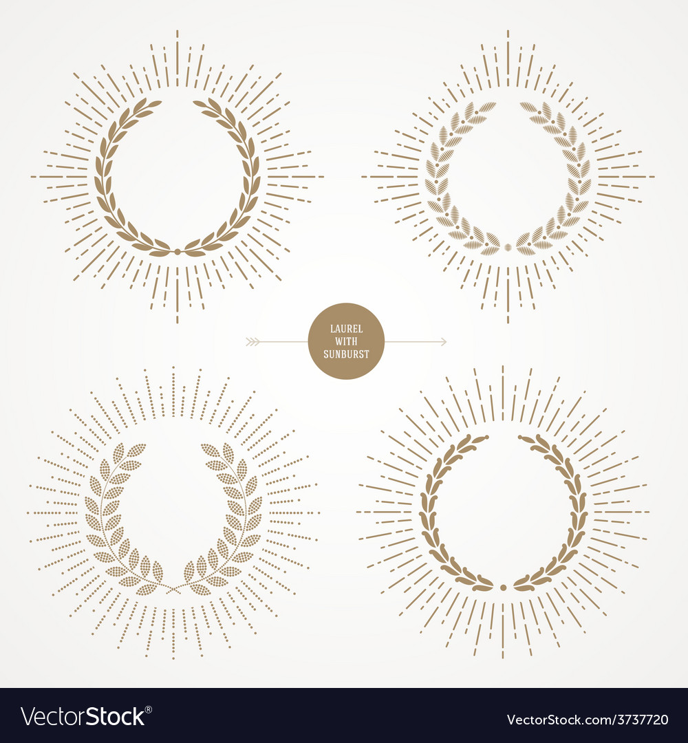 Set of laurel wreath with sunburst line rays vector