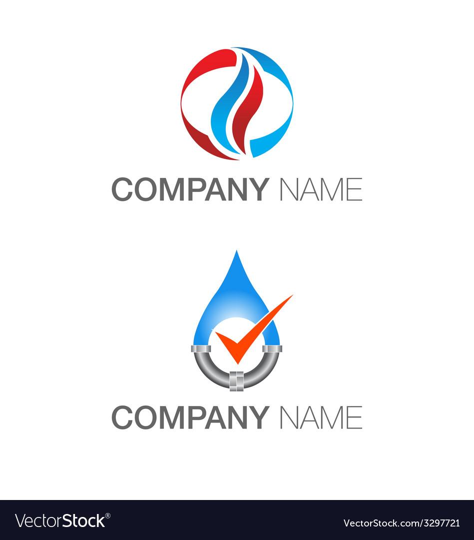 Plumbing heating logos vector
