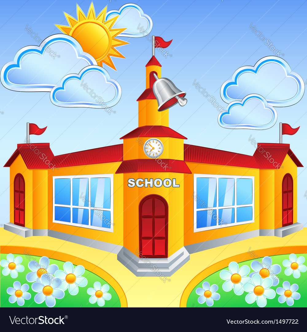 Cartoon school building vector