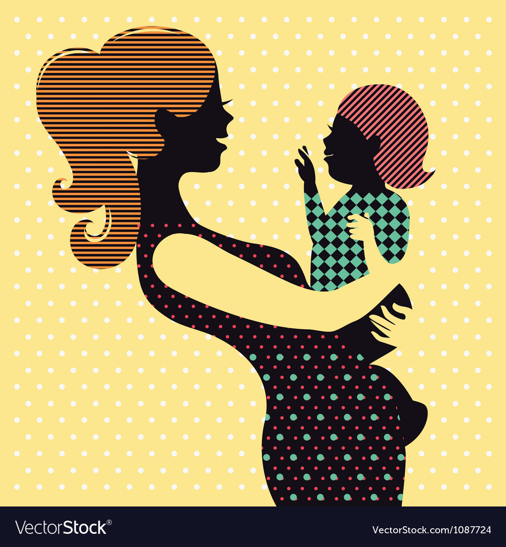Mother and baby in retro style vector