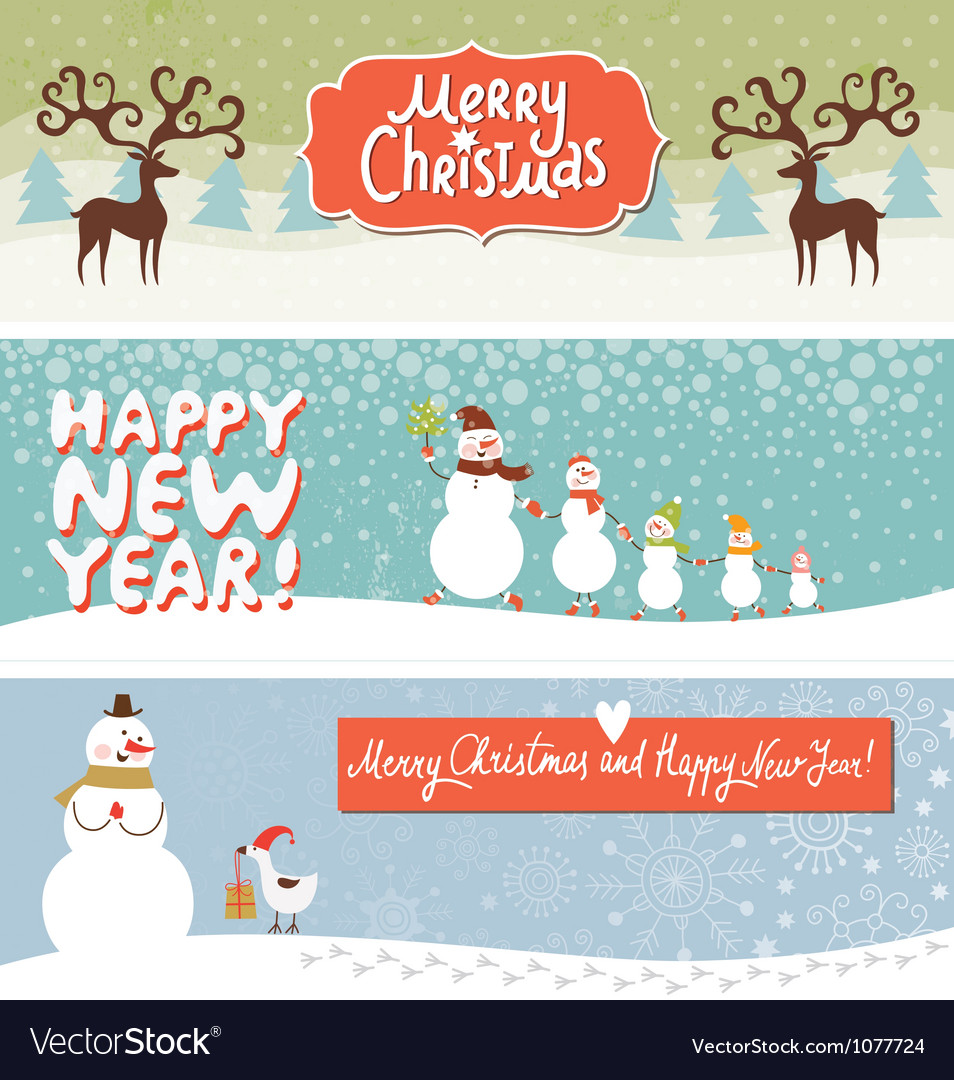 Set of horizontal christmas and new year banners vector