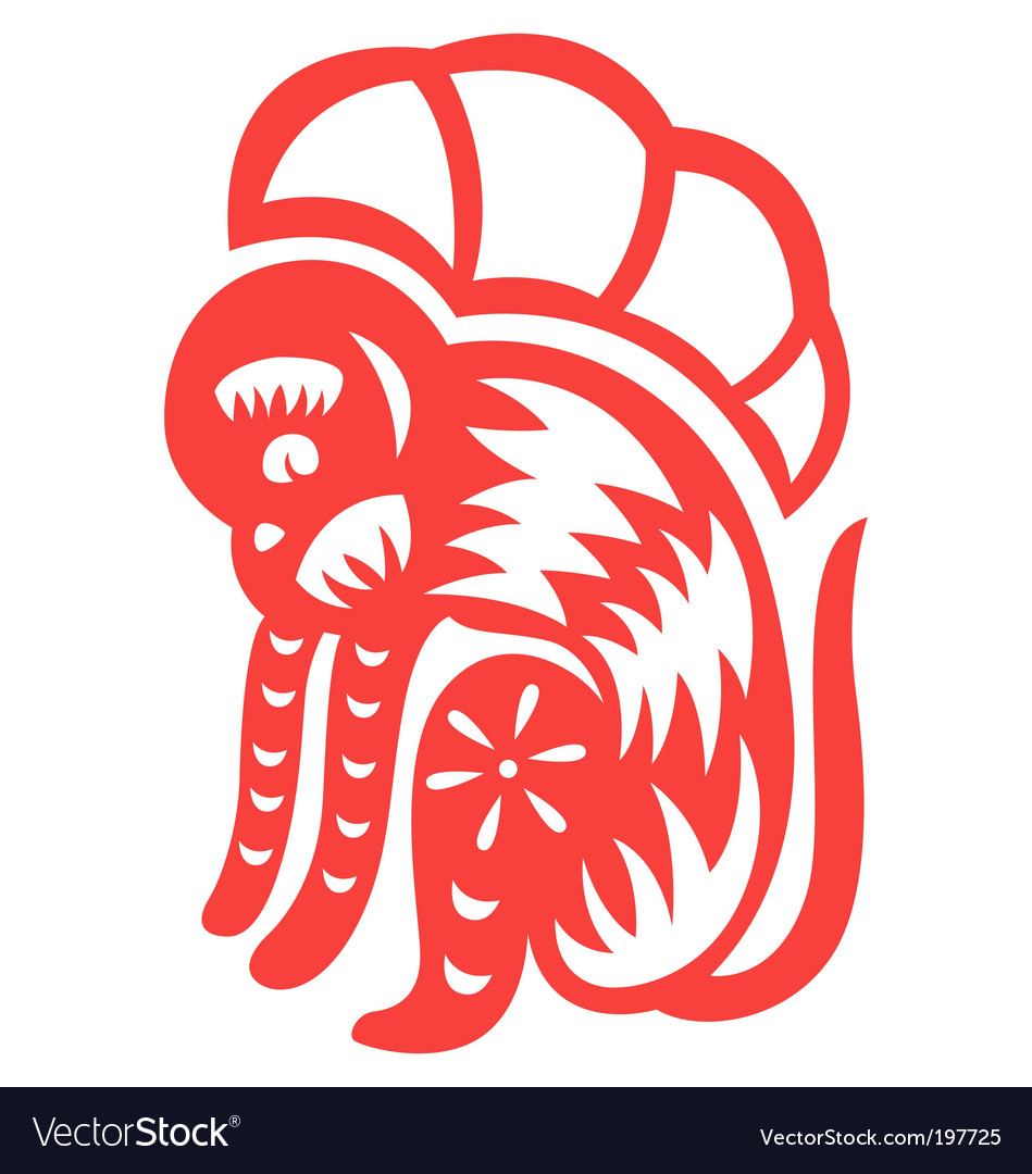 Chinese astrology monkey vector