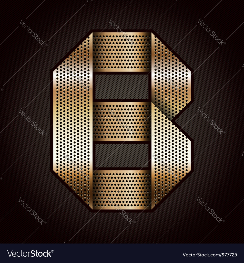 Letter metal gold ribbon - b vector