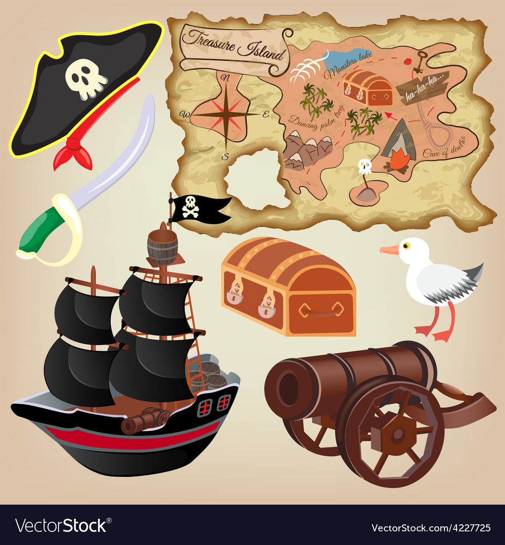 Pirates map ship and other attributes vector
