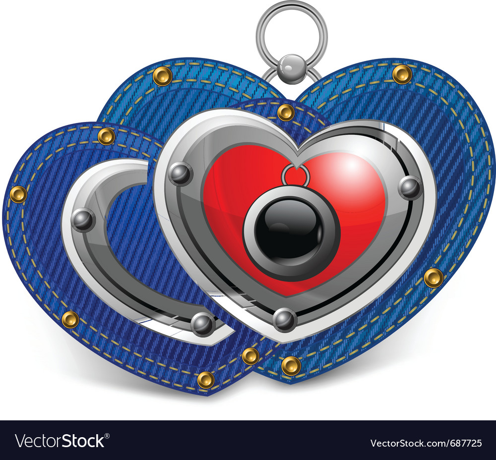 Two jewelry hearts vector