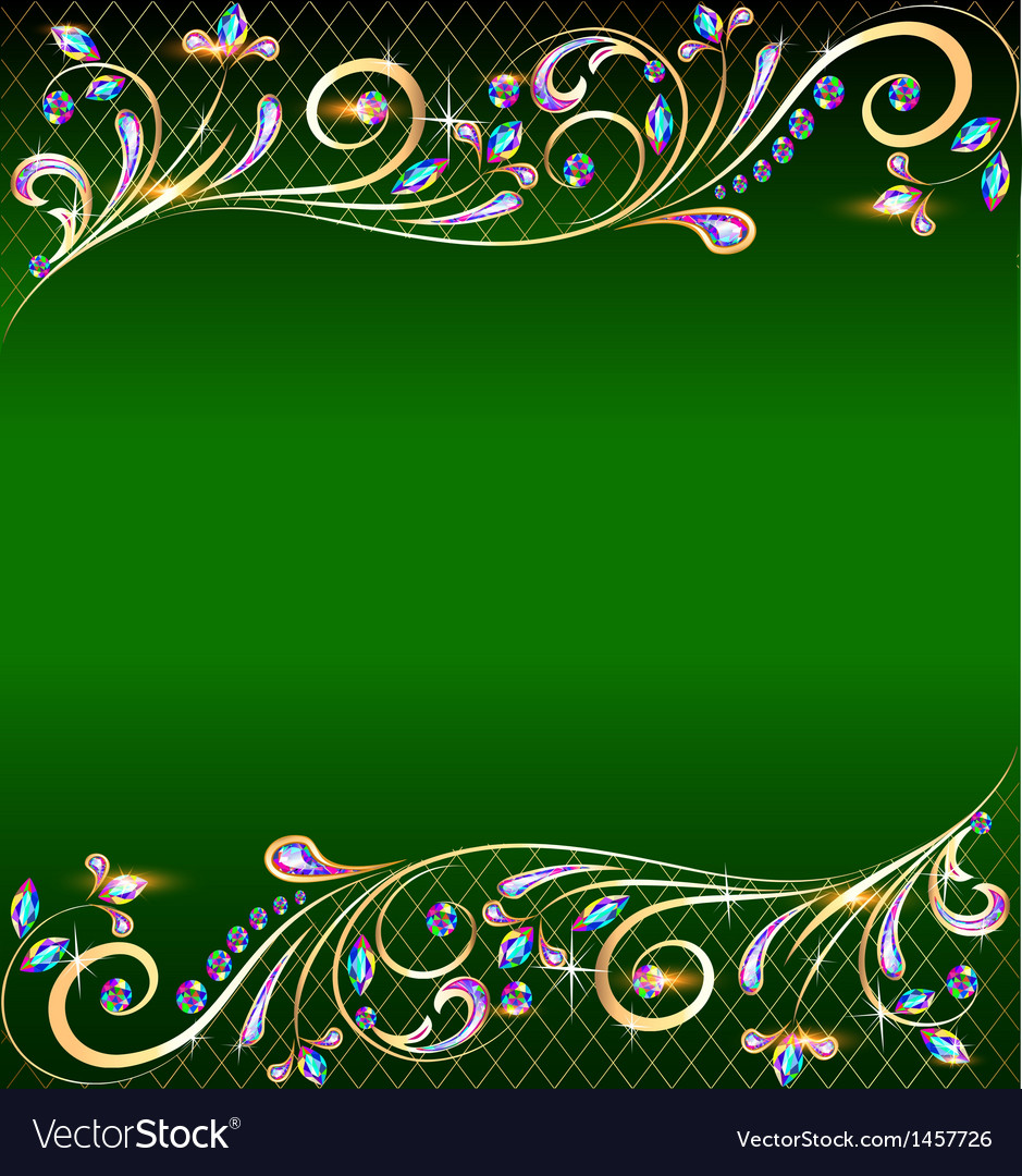 Green background with jewels vector