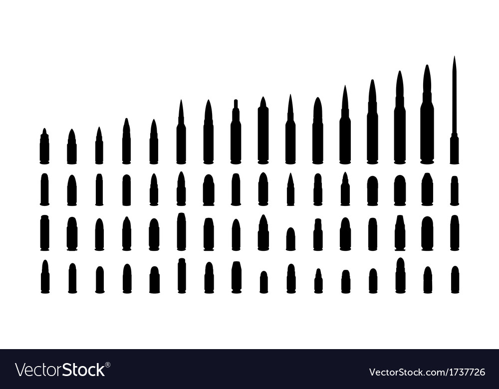 Various types ammunition silhouettes vector