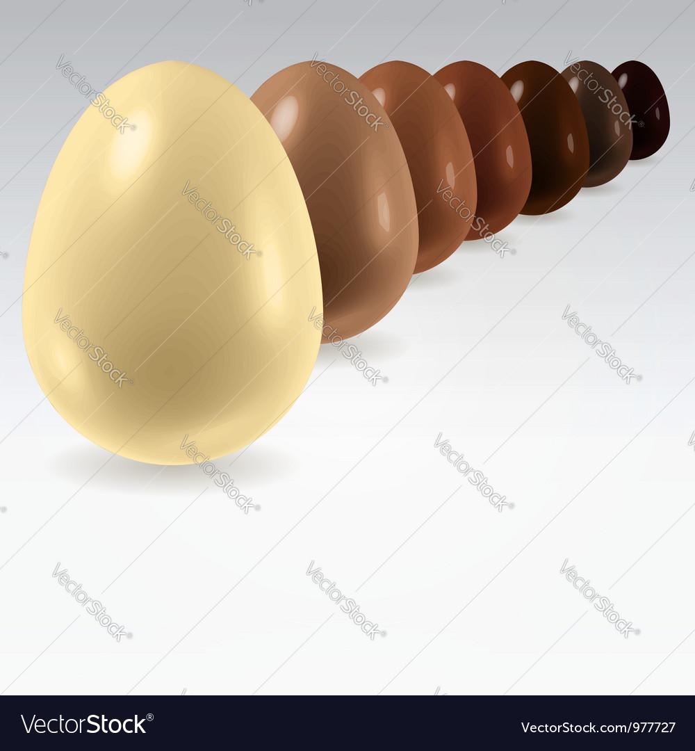 Chocolate egg row on white vector