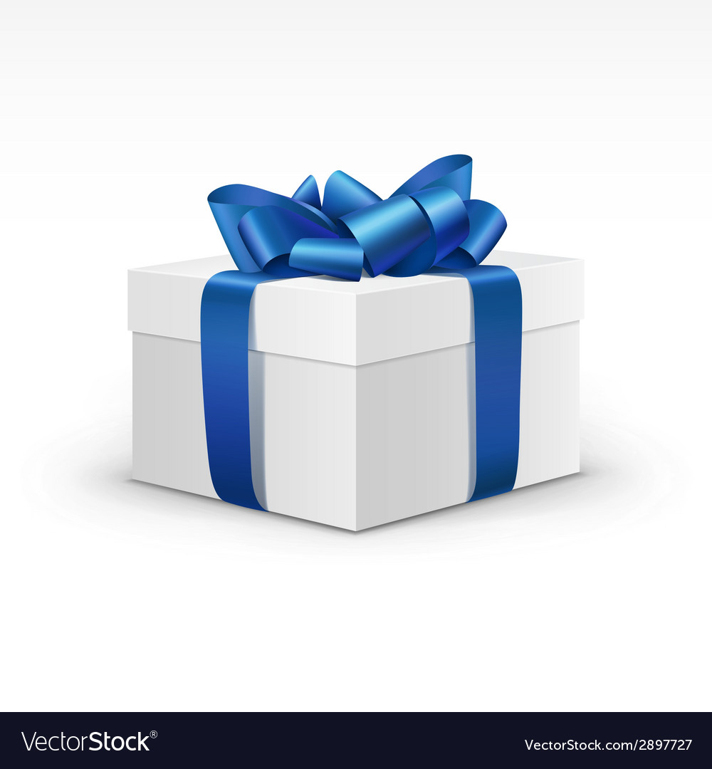 White gift box with blue ribbon isolated vector