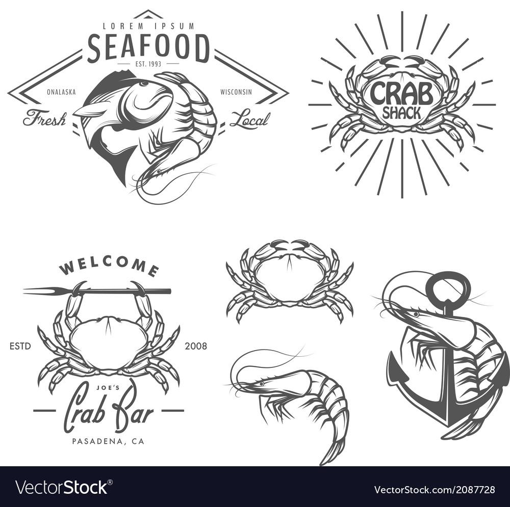 Set of vintage seafood labels and design elements vector