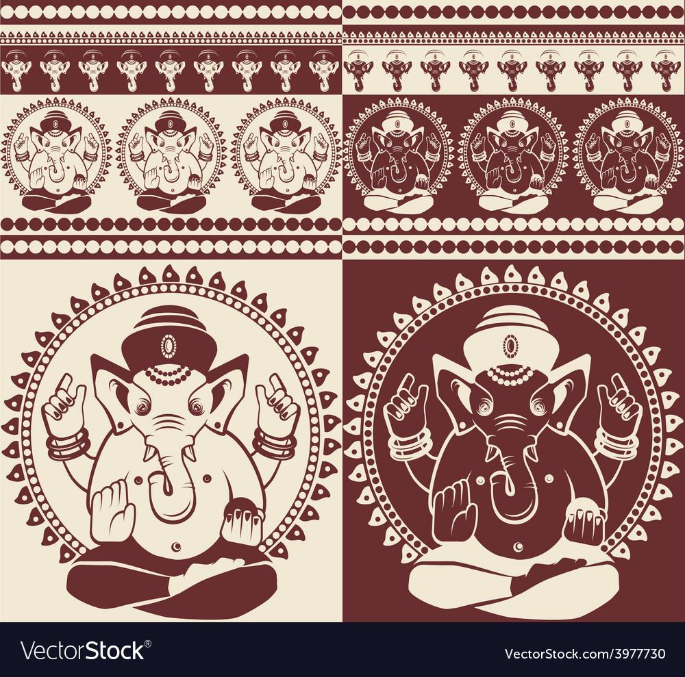 Indian god ganesha yoga pattern vector