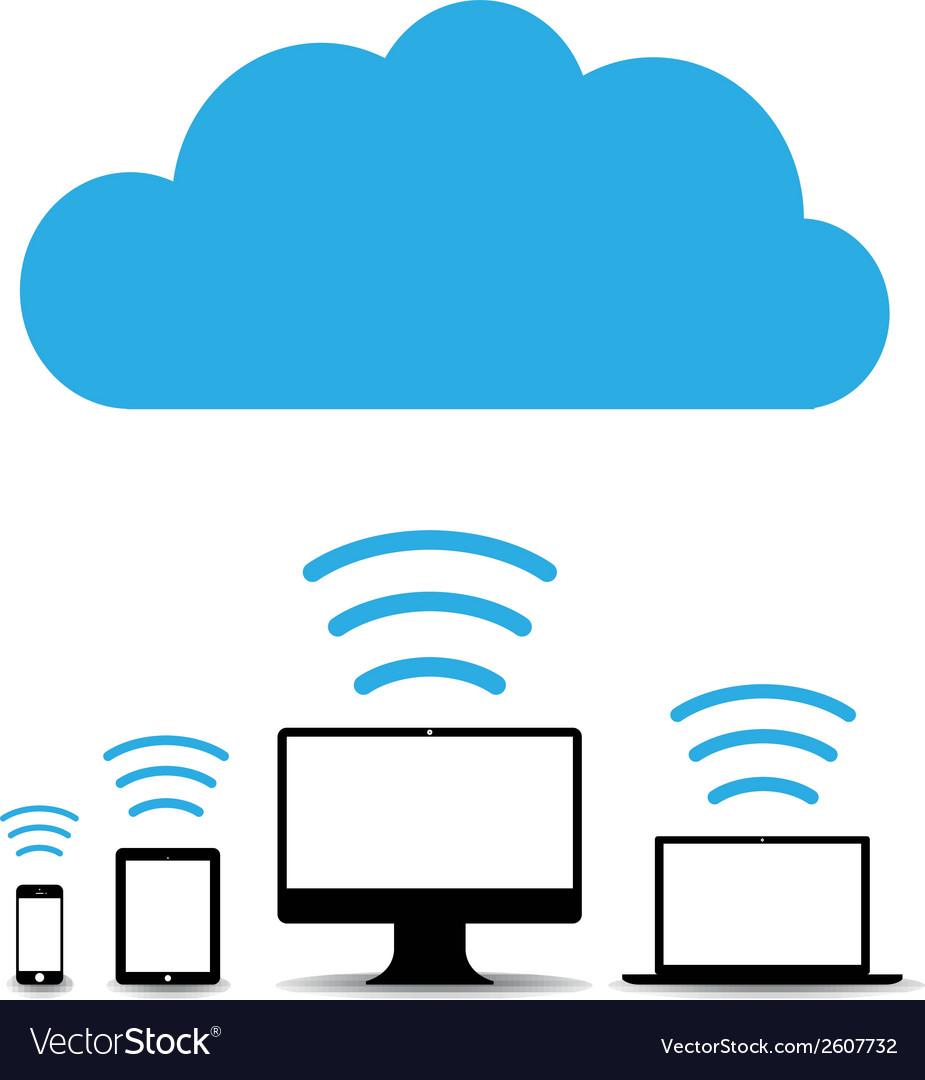 Cloud computers vector