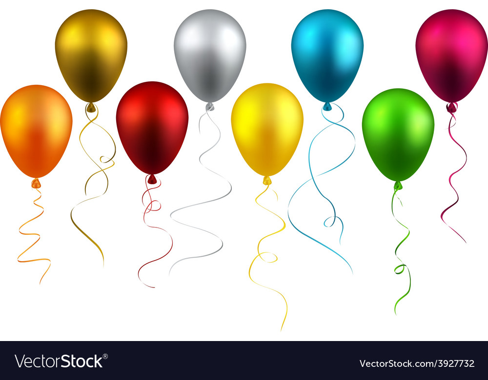 Set of realistic balloons vector