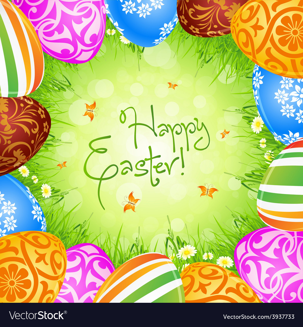 Easter eggs and grass vector