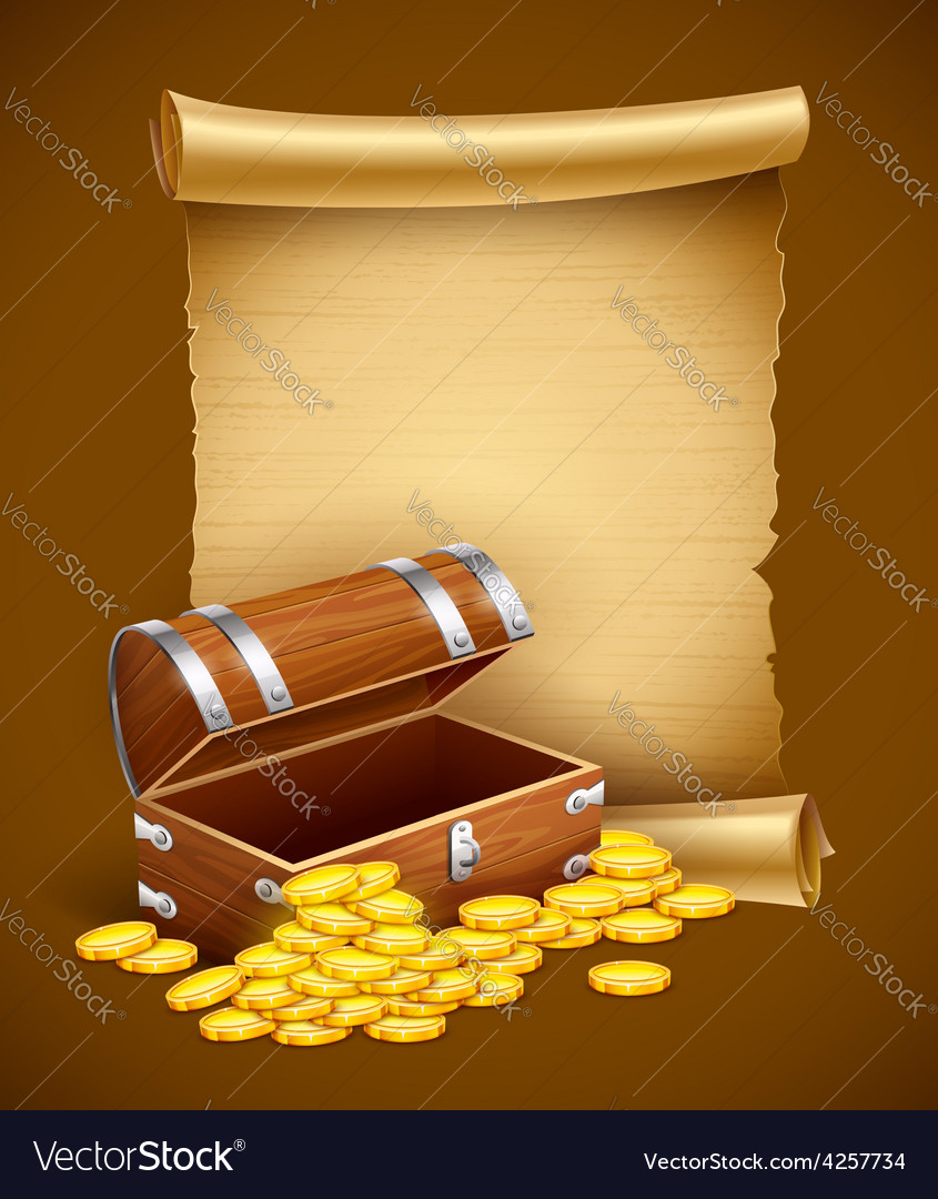 Pirate treasures in trunk and vector