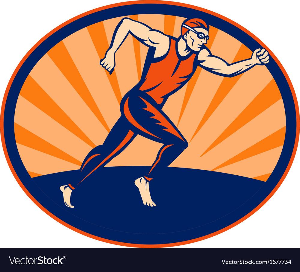 Triathlon athlete runner running vector