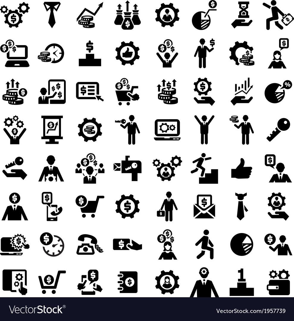 Big business success icons set vector