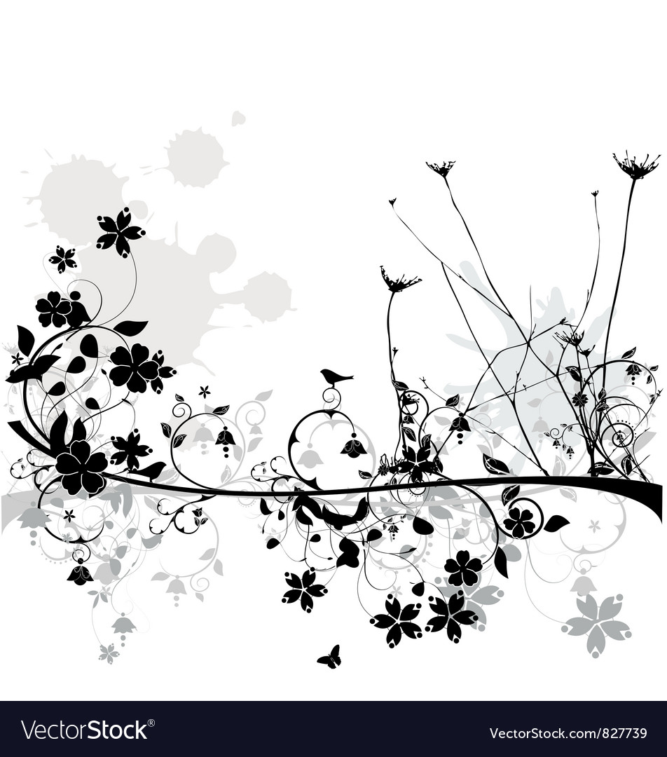 Floral line vector