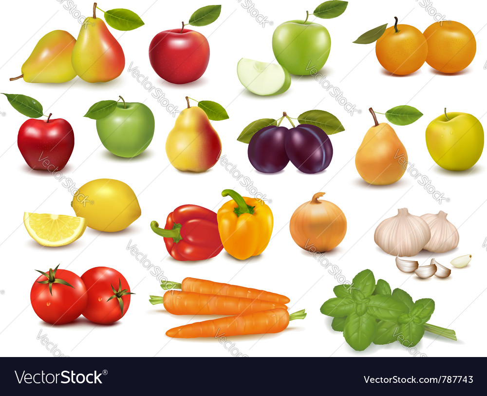 Fruits and vegetables set vector