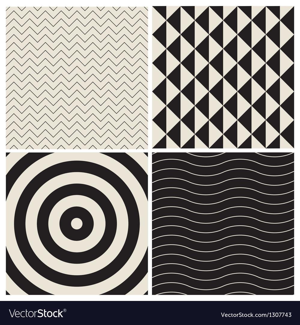 Pattern background set retro vector