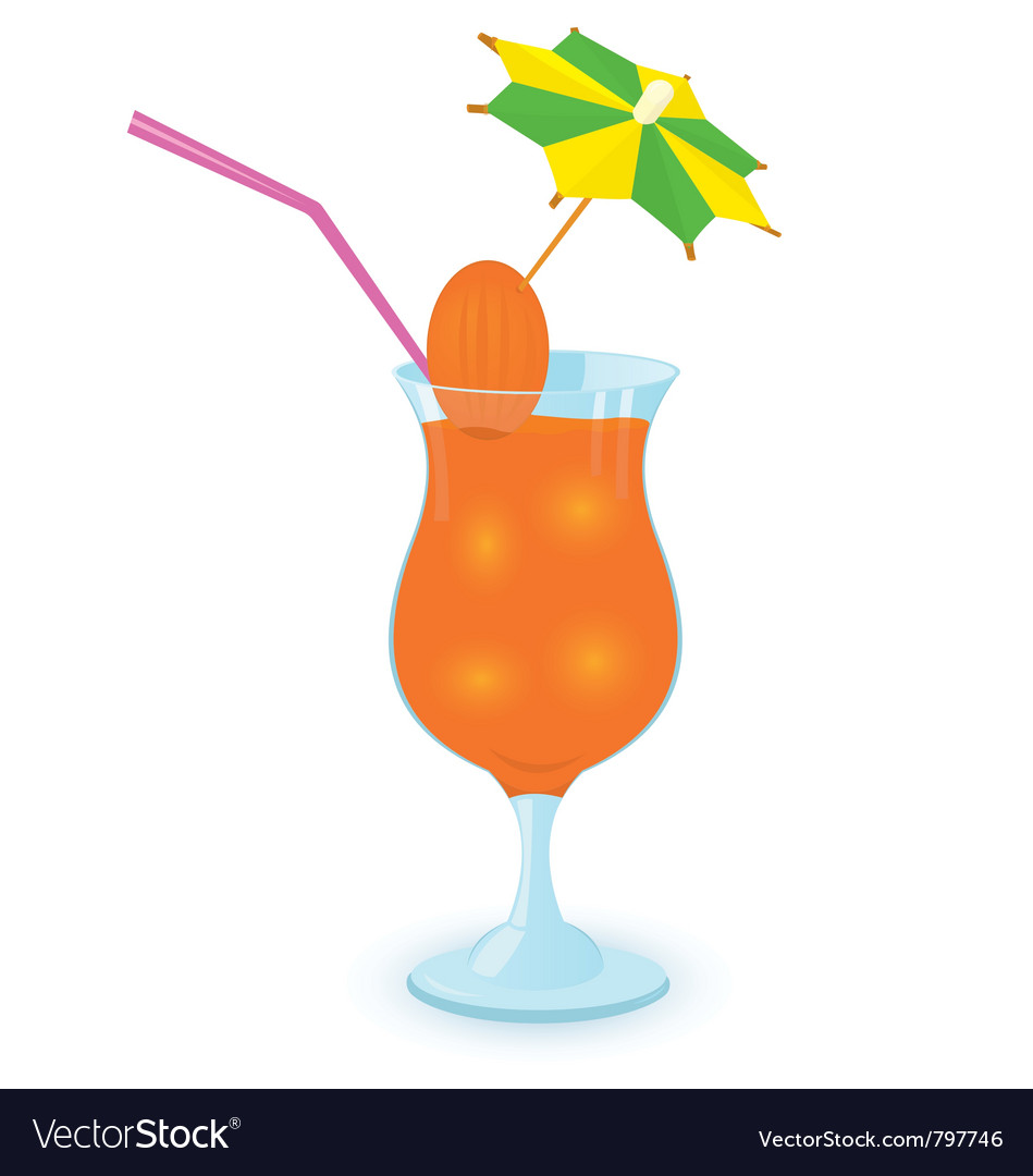 Alcohol cocktail with umbrella vector
