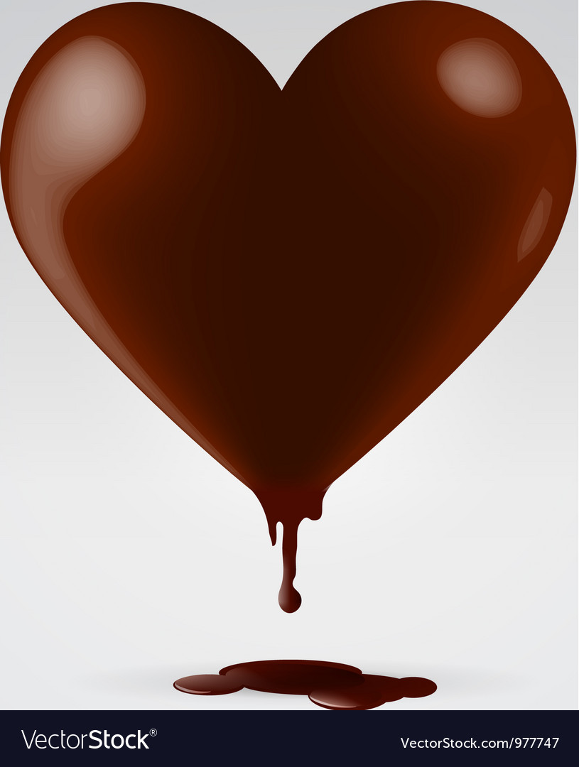 Chocolate dripping hot heart vector