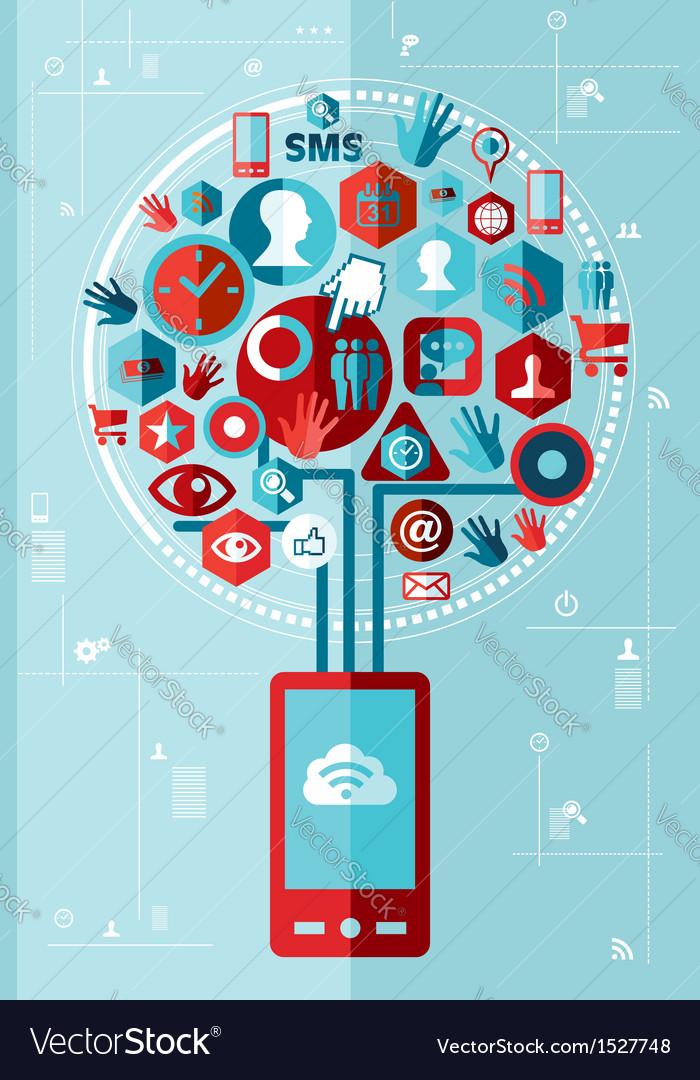 Smartphone network tree vector