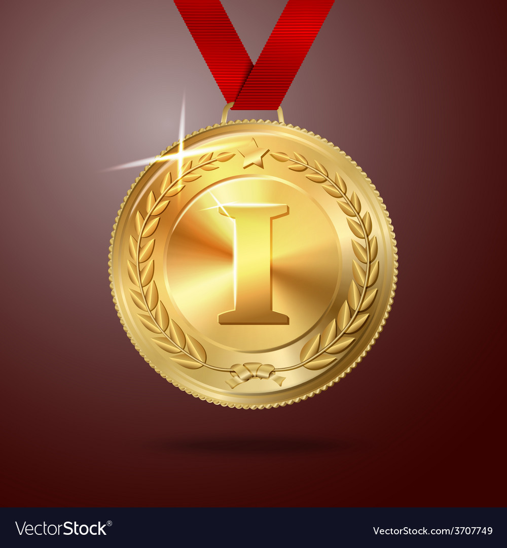 Golden first place medal with red ribbon vector