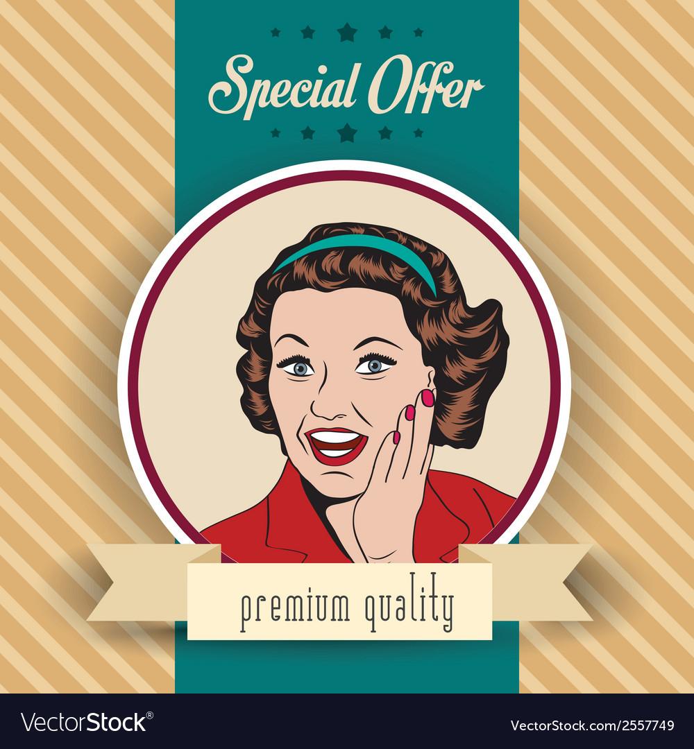 Happy woman commercial retro clipart vector