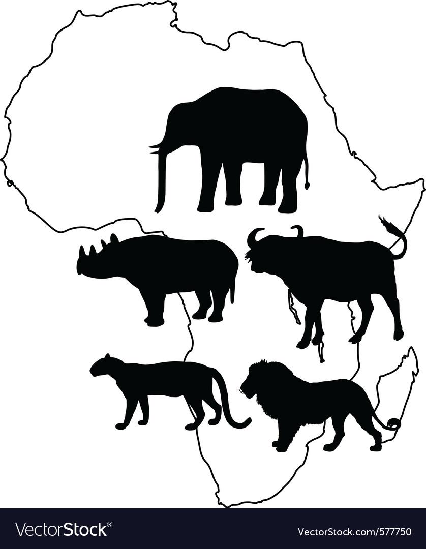 Africa big five vector